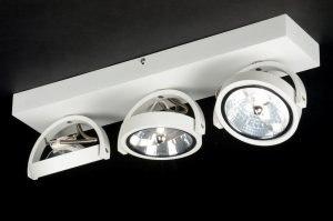 plafondlamp 71562 modern design industrie look wit mat aluminium metaal rechthoekig