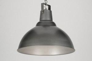 hanglamp 71586 industrie look landelijk rustiek metaal grijs staalgrijs rond