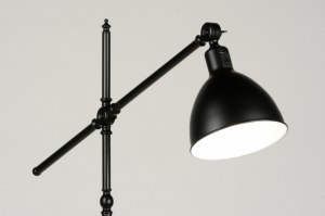 floor lamp 71590 industrial look rustic retro contemporary classical metal black matt round