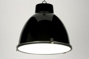hanglamp 71710 modern landelijk rustiek industrie look zwart glans aluminium metaal rond