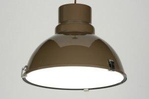hanglamp 71715 modern landelijk rustiek industrie look bruin aluminium metaal rond