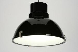 hanglamp 71717 modern landelijk rustiek industrie look zwart glans aluminium metaal rond