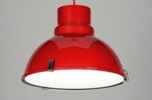 pendant light 71719 industrial look rustic modern aluminium metal red round