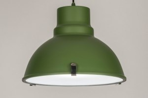 pendant light 71720 industrial look rustic modern aluminium metal green round