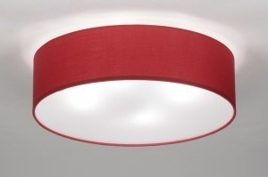 plafondlamp 71745 modern klassiek eigentijds klassiek stof rood rond