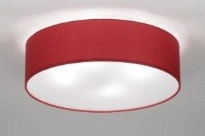 Lampara de techo 71745 Moderno Clasico Contemporaneo Clasico Tela Rojo Redonda