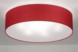 ceiling lamp 71746 modern contemporary classical fabric red round