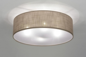 ceiling lamp 71763 rustic modern contemporary classical fabric brown taupe colored round