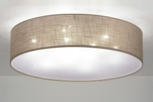 ceiling lamp 71764 modern contemporary classical fabric brown taupe colored round