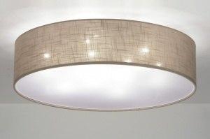 plafondlamp 71764 modern eigentijds klassiek bruin taupe stof rond