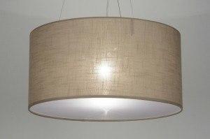 hanglamp 71766 modern landelijk rustiek taupe stof rond