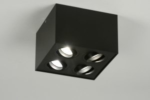spotlight 71788 modern aluminium metal black matt square
