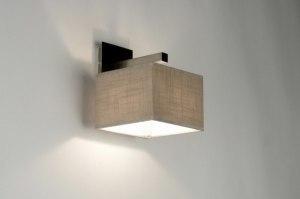 wandlamp 71806 landelijk rustiek modern eigentijds klassiek stof taupe vierkant