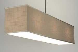 pendant light 71813 rustic modern fabric taupe colored oblong rectangular