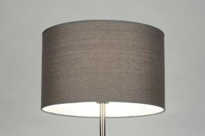 vloerlamp 71819 modern eigentijds klassiek grijs staal rvs stof rond