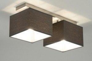plafondlamp 71820 modern eigentijds klassiek grijs stof rechthoekig