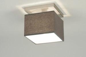 plafondlamp 71821 modern stof grijs vierkant