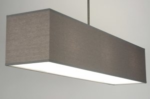pendant light 71824 rustic modern fabric grey oblong rectangular