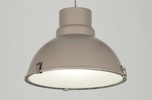 hanglamp 71835 modern retro industrie look taupe aluminium metaal rond