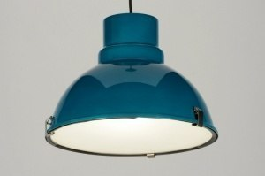 pendant light 71836 industrial look modern retro aluminium metal blue petrol colored round