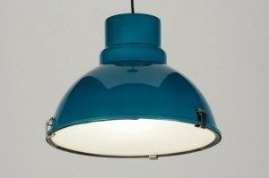 hanglamp 71836 industrie look modern retro aluminium metaal blauw petrol rond