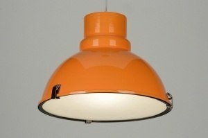 suspension 71838 look industriel moderne retro aluminium acier orange rond