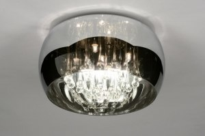 plafondlamp 71840 landelijk rustiek modern glas kristal kristalglas chroom rond