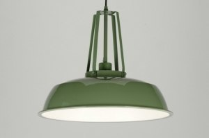 pendant light 71841 industrial look rustic modern retro metal green round