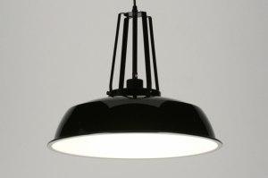 hanglamp 71842 industrie look landelijk rustiek modern retro metaal zwart mat rond