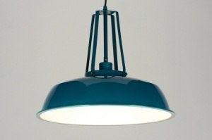 pendant light 71844 industrial look rustic modern retro metal blue petrol colored round