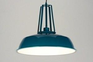 hanglamp 71844 industrie look landelijk rustiek modern retro metaal blauw petrol rond