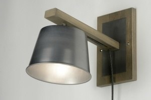 wall lamp 71869 sale industrial look rustic modern wood aluminium metal grey