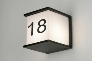 wandlamp 71916 design landelijk rustiek modern aluminium kunststof polycarbonaat slagvast zwart mat vierkant