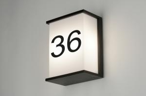 wandlamp 71917 modern aluminium kunststof polycarbonaat slagvast metaal zwart mat rechthoekig