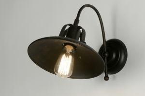 wandlamp 71944 landelijk rustiek klassiek eigentijds klassiek metaal zwart koper rond