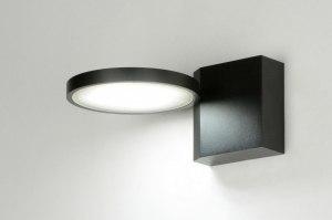 wandlamp 71986 design modern aluminium metaal zwart mat rond rechthoekig