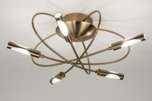 plafondlamp 71992 modern eigentijds klassiek brons roest bruin brons metaal rond