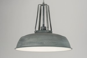 pendant light 72051 industrial look rustic modern retro metal concrete gray zinc round