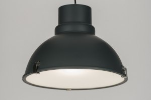 pendant light 72053 industrial look rustic modern aluminium metal grey dark gray round