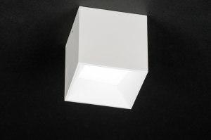 plafondlamp 72065 modern design wit mat aluminium kunststof metaal vierkant