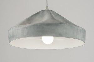 hanglamp 72071 industrie look modern aluminium metaal betongrijs zink rond