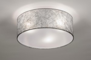 ceiling lamp 72083 rustic modern contemporary classical fabric grey silvergray round