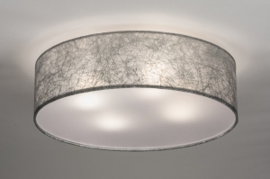 ceiling lamp 72084 rustic modern contemporary classical fabric grey silvergray round