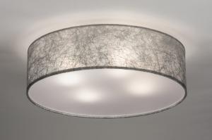 plafondlamp 72084 modern eigentijds klassiek landelijk rustiek grijs zilvergrijs stof rond