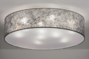 ceiling lamp 72085 rustic modern contemporary classical fabric grey silvergray round