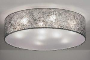 plafondlamp 72085 landelijk rustiek modern eigentijds klassiek stof grijs zilvergrijs rond