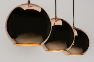 pendant light 72092 modern retro glass copper red copper round