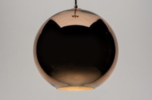 pendant light 72093 modern retro glass copper red copper round