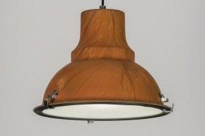 hanglamp 72165 modern landelijk rustiek retro industrie look brons roest bruin roest bruin brons metaal rond