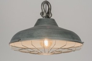 pendant light 72225 industrial look rustic modern retro metal concrete gray zinc round